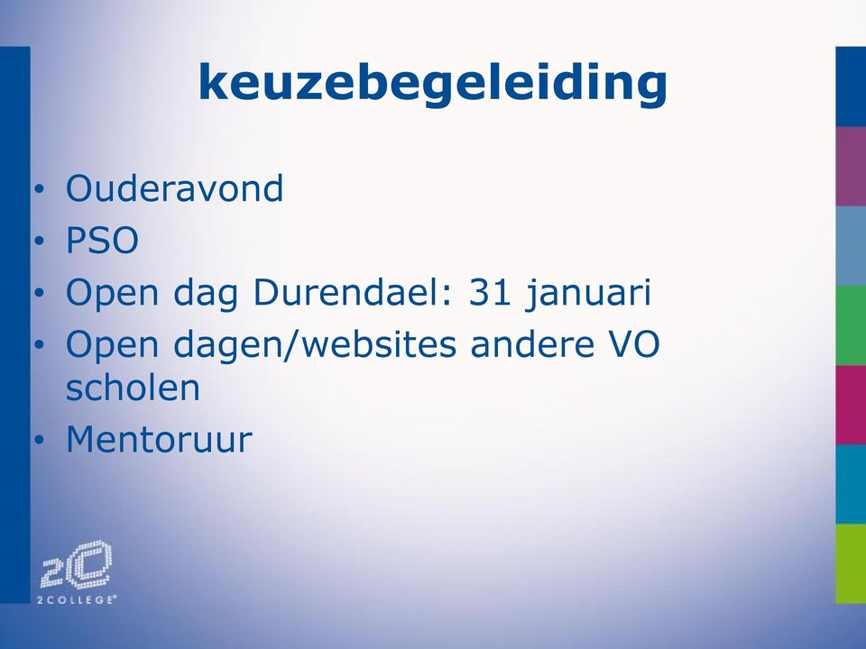 januari Open dagen/websites