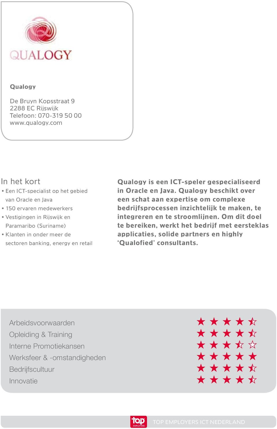 energy en retail Qualogy is een ICT-speler gespecialiseerd in Oracle en Java.
