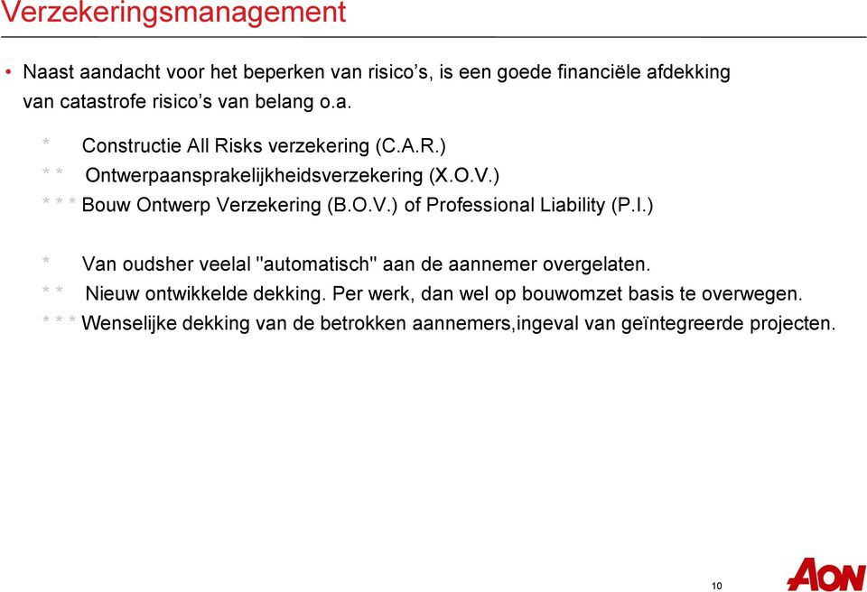 ) * * * Bouw Ontwerp Verzekering (B.O.V.) of Professional Liability (P.I.