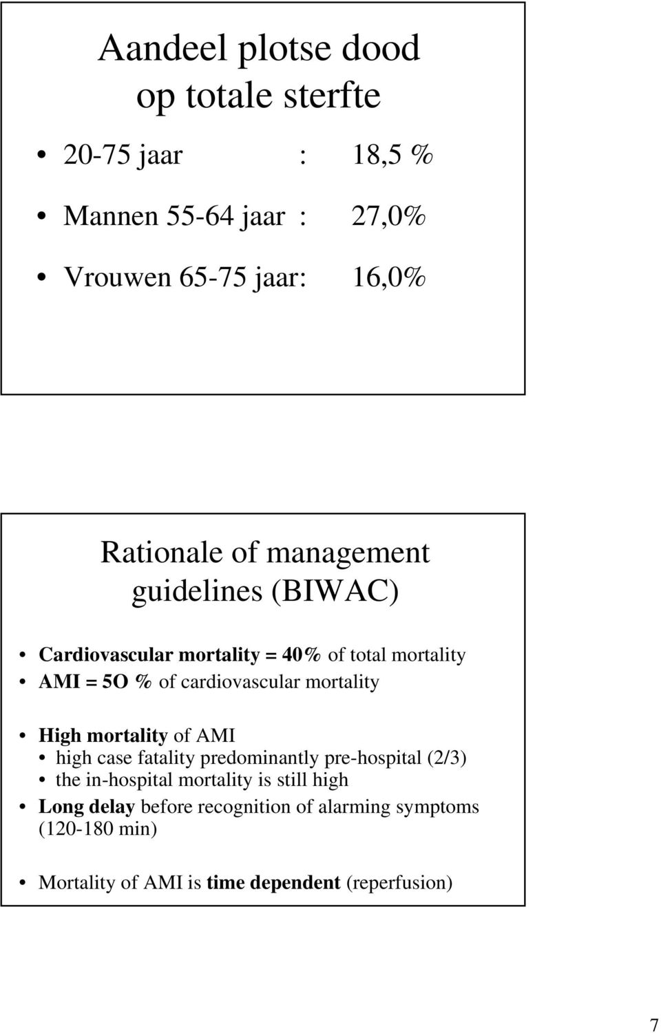 cardiovascular mortality High mortality of AMI high case fatality predominantly pre-hospital (2/3) the in-hospital