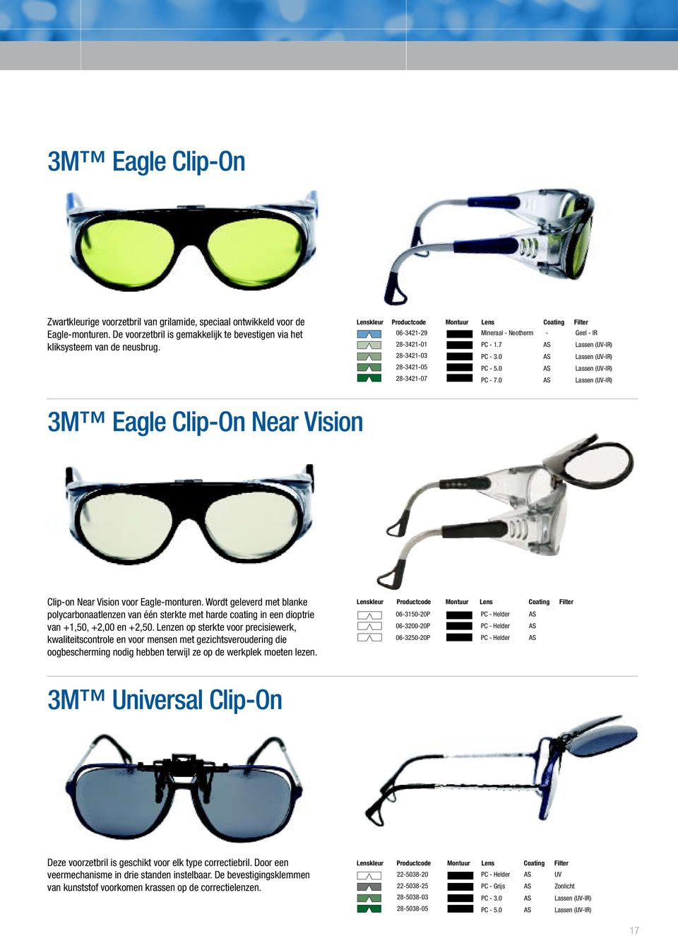 0 - Geel - IR Lassen (-IR) Lassen (-IR) Lassen (-IR) Lassen (-IR) 3M Eagle Clip-On Near Vision Clip-on Near Vision voor Eagle-monturen.