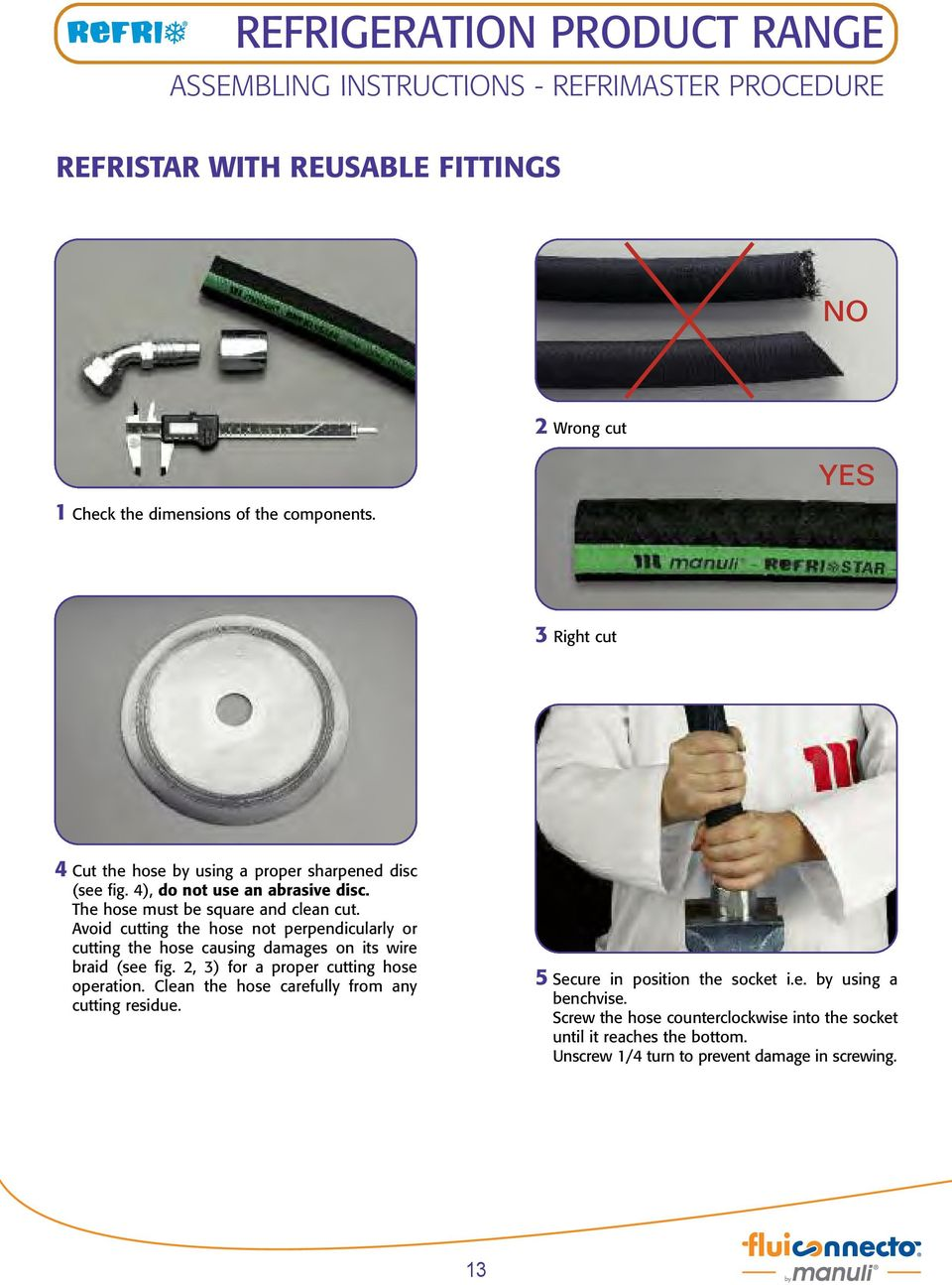 Avoid cutting the hose not perpendicularly or cutting the hose causing damages on its wire braid (see fig. 2, 3) for a proper cutting hose operation.