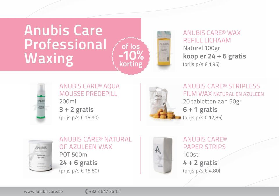 Stripless FILM wax natural en azuleen 20 tabletten aan 50gr 6 + 1 gratis (prijs p/s 12,85) Anubis Care Natural