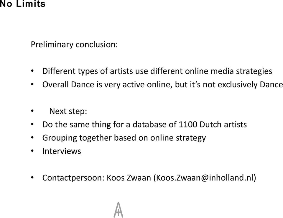 Next step: Do the same thing for a database of 1100 Dutch artists Grouping together