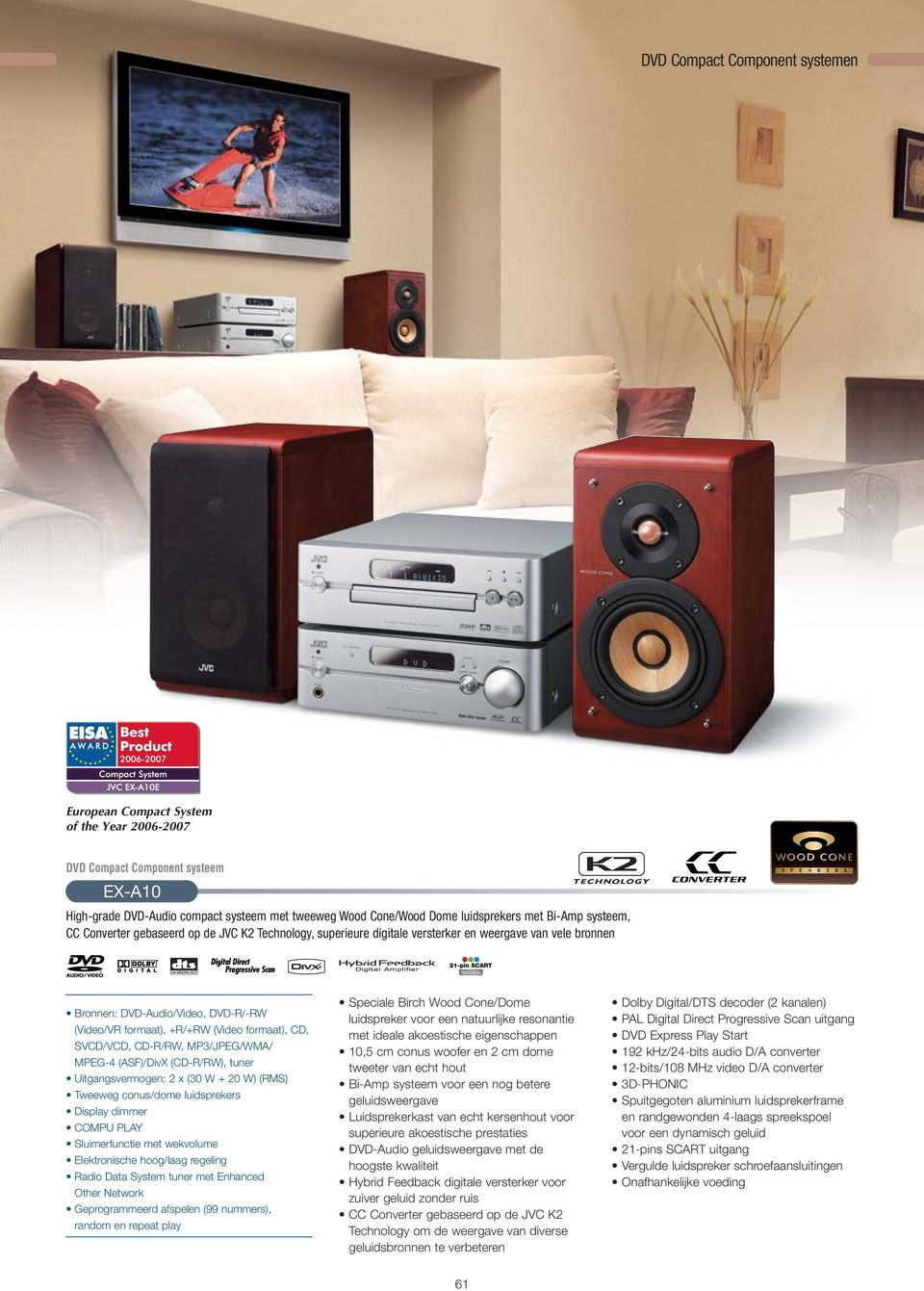 formaat), CD, SVCD/VCD, CD-R/RW, MP3/JPEG/WMA/ MPEG-4 (ASF)/DivX (CD-R/RW), tuner Uitgangsvermogen: 2 x (30 W + 20 W) (RMS) Tweeweg conus/dome luidsprekers Display dimmer COMPU PLAY Sluimerfunctie