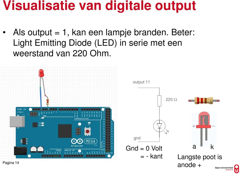 Beter: Light Emitting Diode (LED) in serie met een