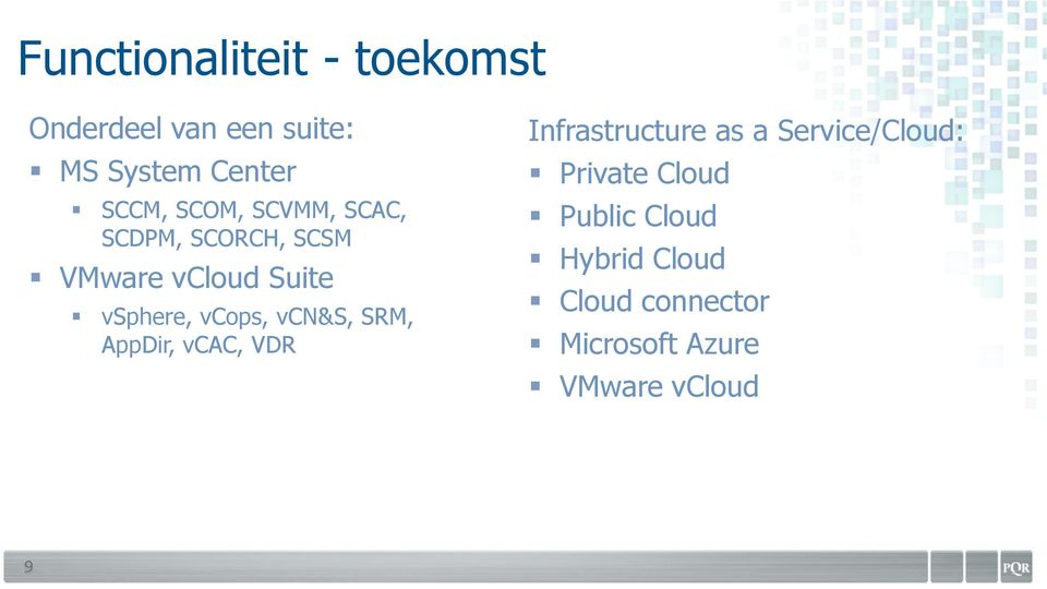 vcn&s, SRM, AppDir, vcac, VDR Infrastructure as a Service/Cloud: Private
