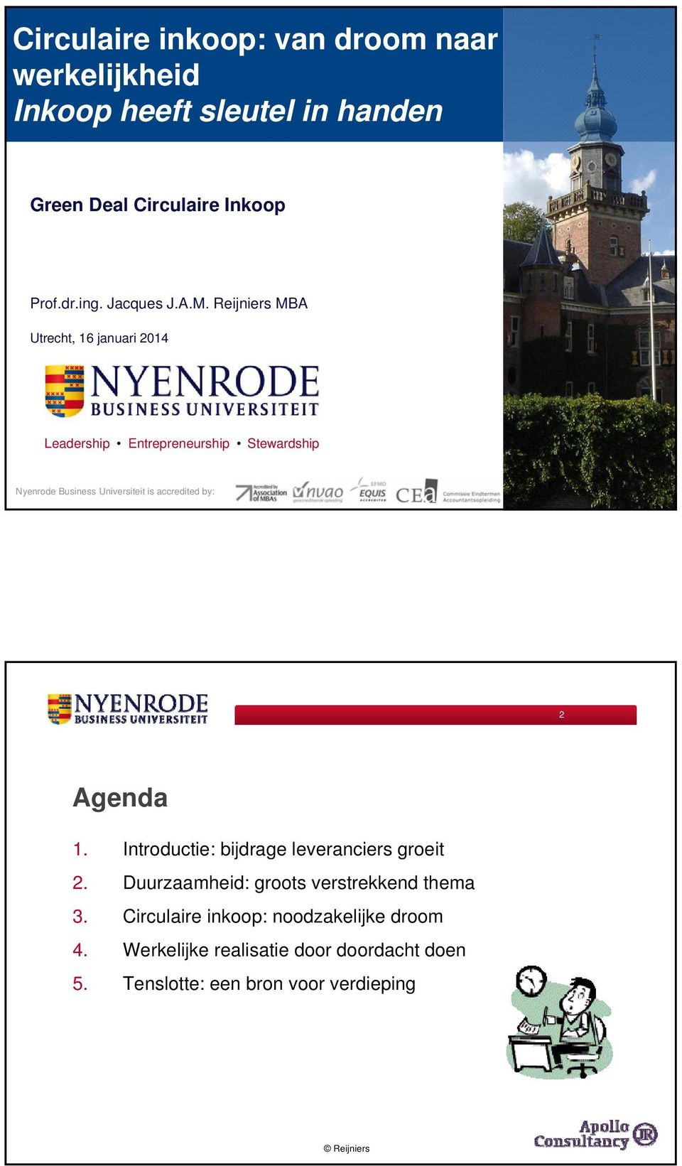 Reijniers MBA Utrecht, 16 januari 2014 Leadership Entrepreneurship Stewardship Nyenrode Business Universiteit is