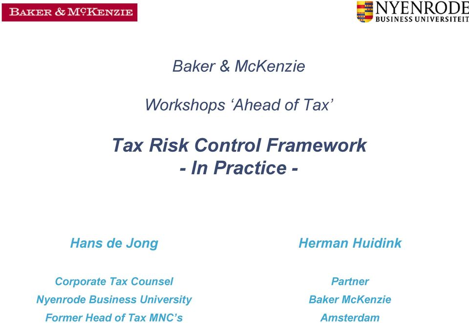 Huidink Corporate Tax Counsel Nyenrode Business
