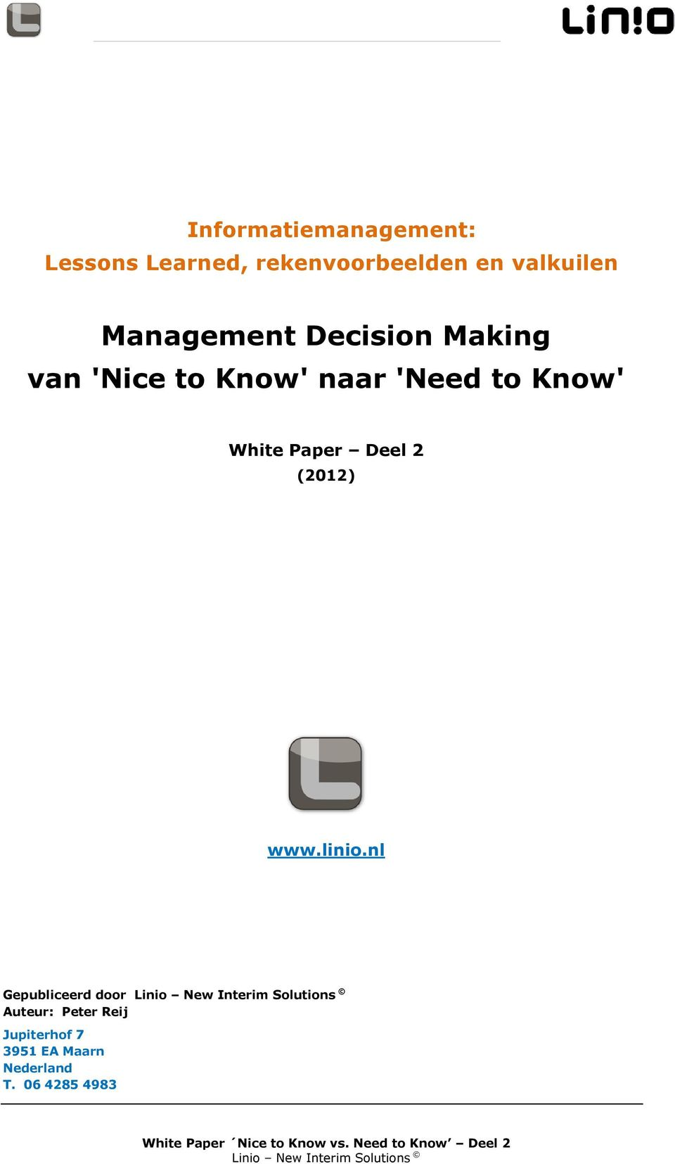 to Know' White Paper Deel 2 (2012) www.linio.