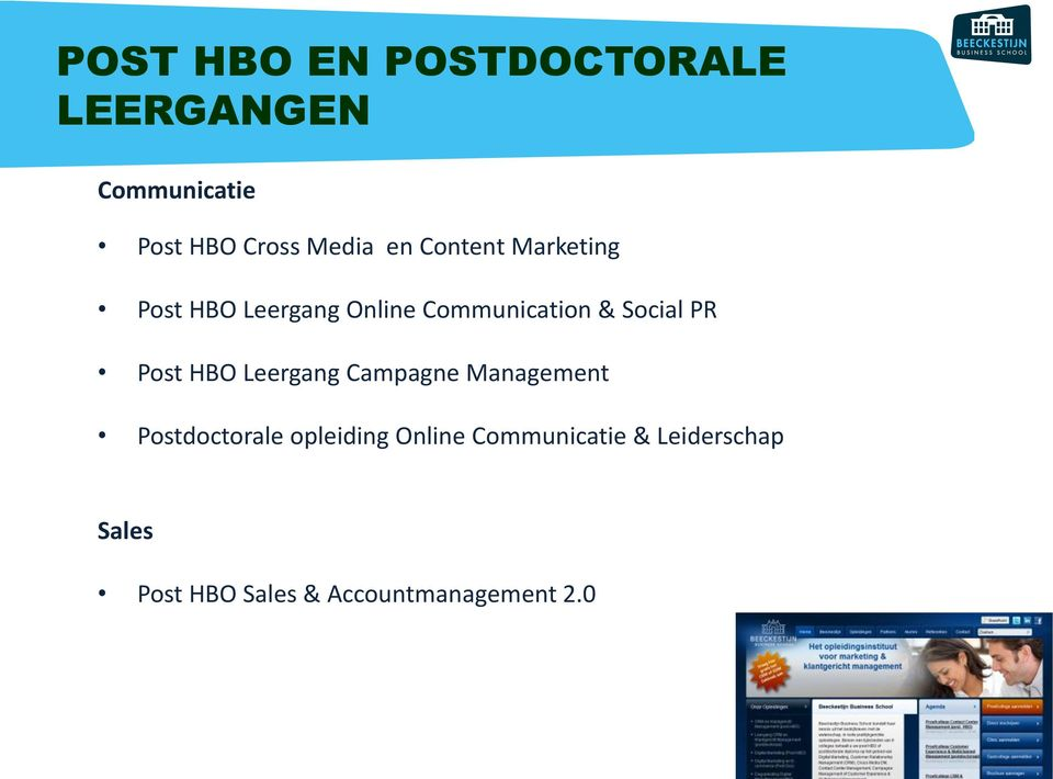 Post HBO Leergang Campagne Management Postdoctorale opleiding Online