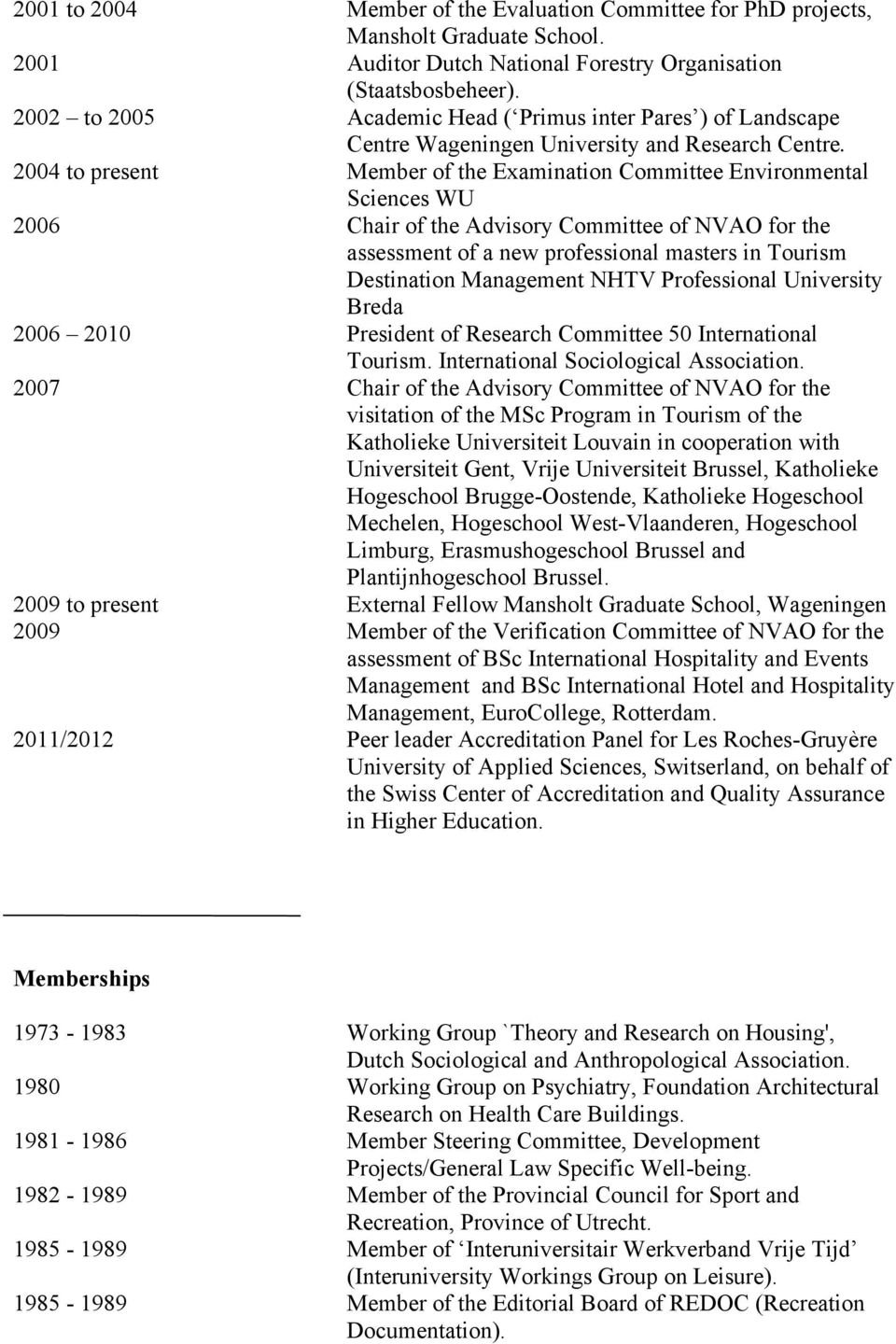 2004 to present Member of the Examination Committee Environmental Sciences WU 2006 Chair of the Advisory Committee of NVAO for the assessment of a new professional masters in Tourism Destination
