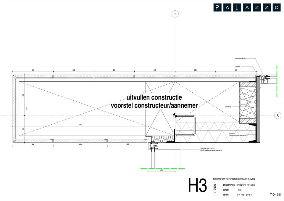 afdichting A 1000 Hulpstaal conform opgave constructeur 300