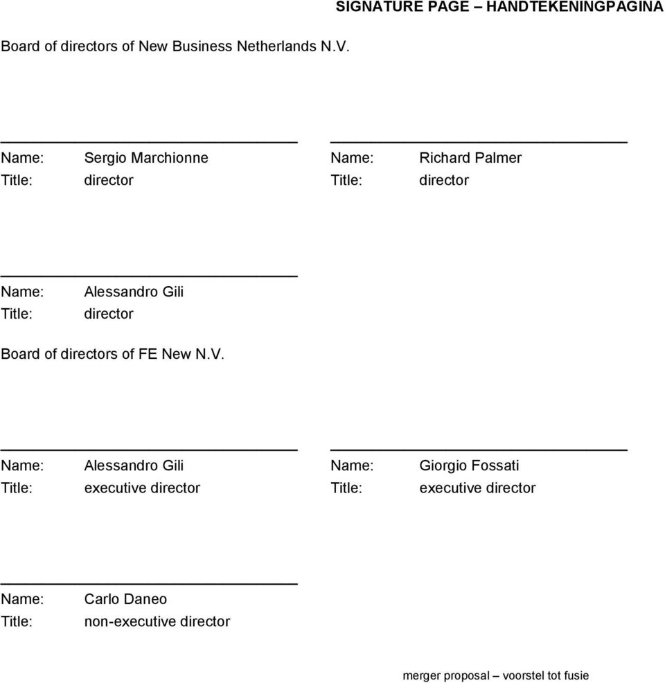 Title: director Board of directors of FE New N.V.