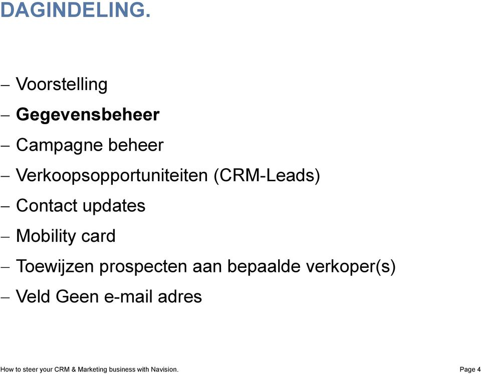 Verkoopsopportuniteiten (CRM-Leads) Contact updates Mobility