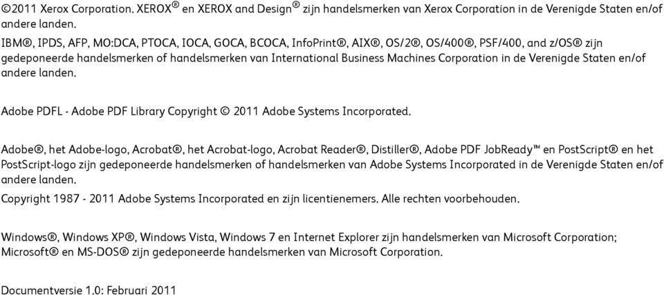 de Verenigde Staten en/of andere landen. Adobe PDFL - Adobe PDF Library Copyright 2011 Adobe Systems Incorporated.