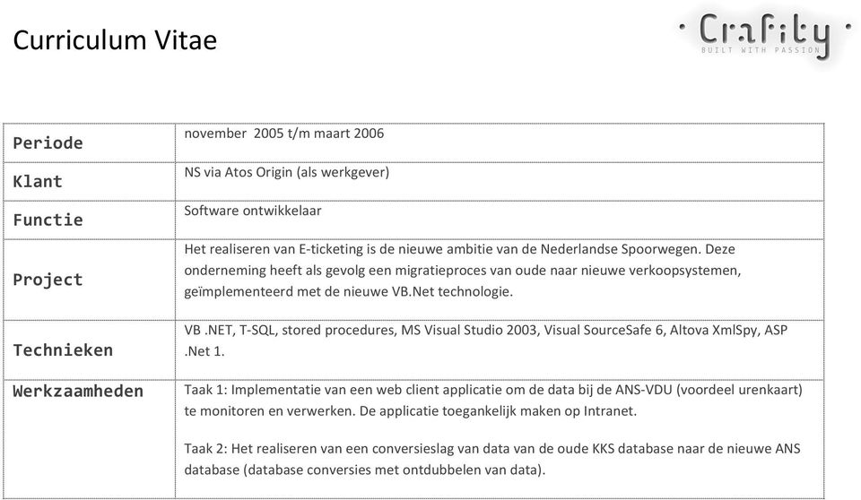 Net technologie. VB.NET, T- SQL, stored procedures, MS Visual Studio 2003, Visual SourceSafe 6, Altova XmlSpy, ASP.Net 1.