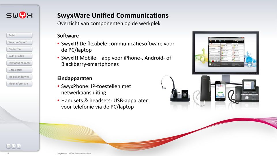 Mobile app voor iphone-, Android- of Blackberry-smartphones Eindapparaten