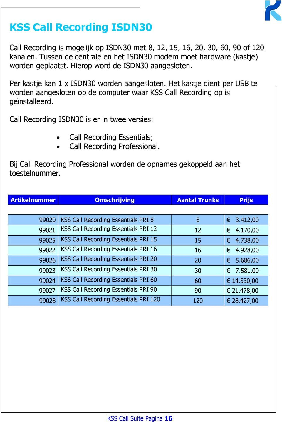 Call Recording ISDN30 is er in twee versies: Call Recording Essentials; Call Recording Professional. Bij Call Recording Professional worden de opnames gekoppeld aan het toestelnummer.