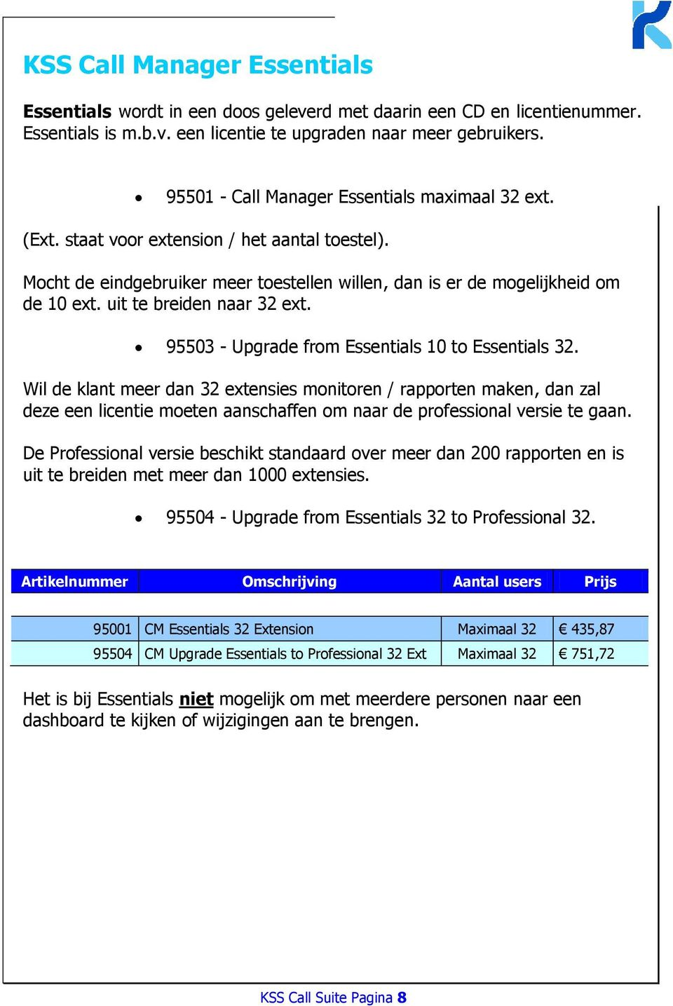 uit te breiden naar 32 ext. 95503 - Upgrade from Essentials 10 to Essentials 32.