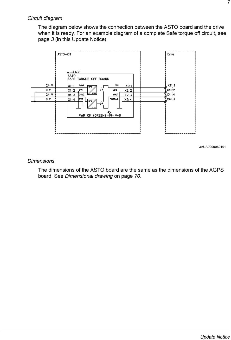 For an example diagram of a complete Safe torque off circuit, see page 3 (in this Update