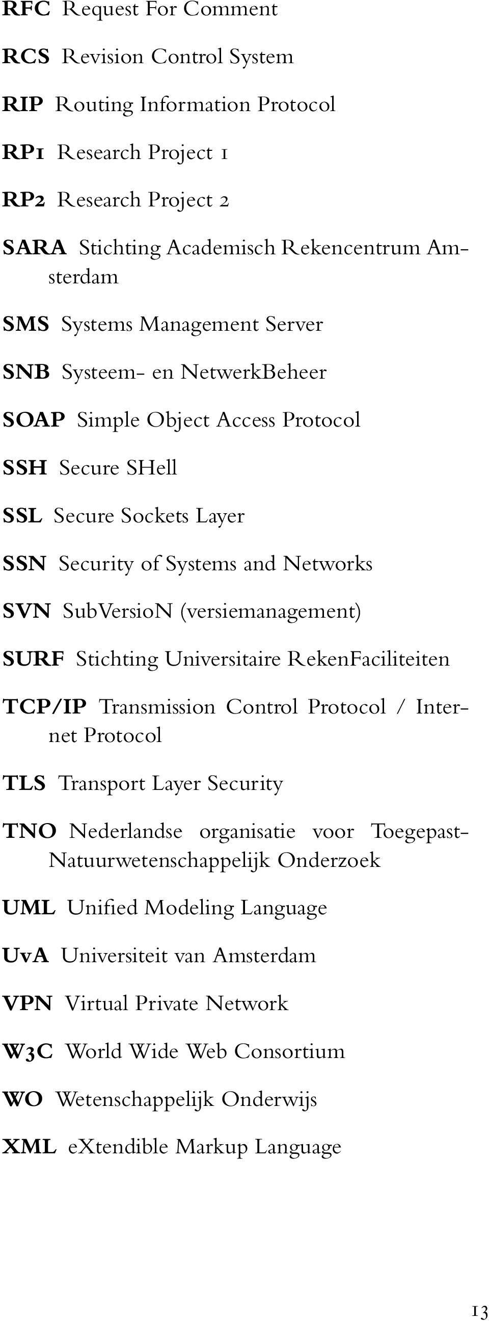 (versiemanagement) SURF Stichting Universitaire RekenFaciliteiten TCP/IP Transmission Control Protocol / Internet Protocol TLS Transport Layer Security TNO Nederlandse organisatie voor