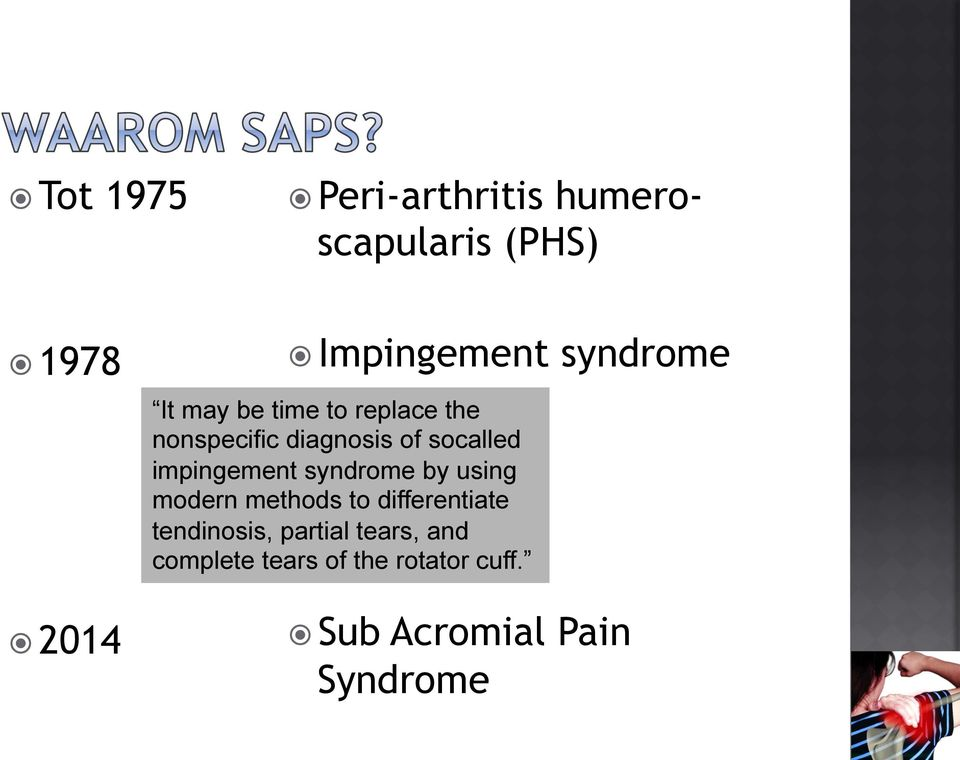impingement syndrome by using modern methods to differentiate tendinosis,