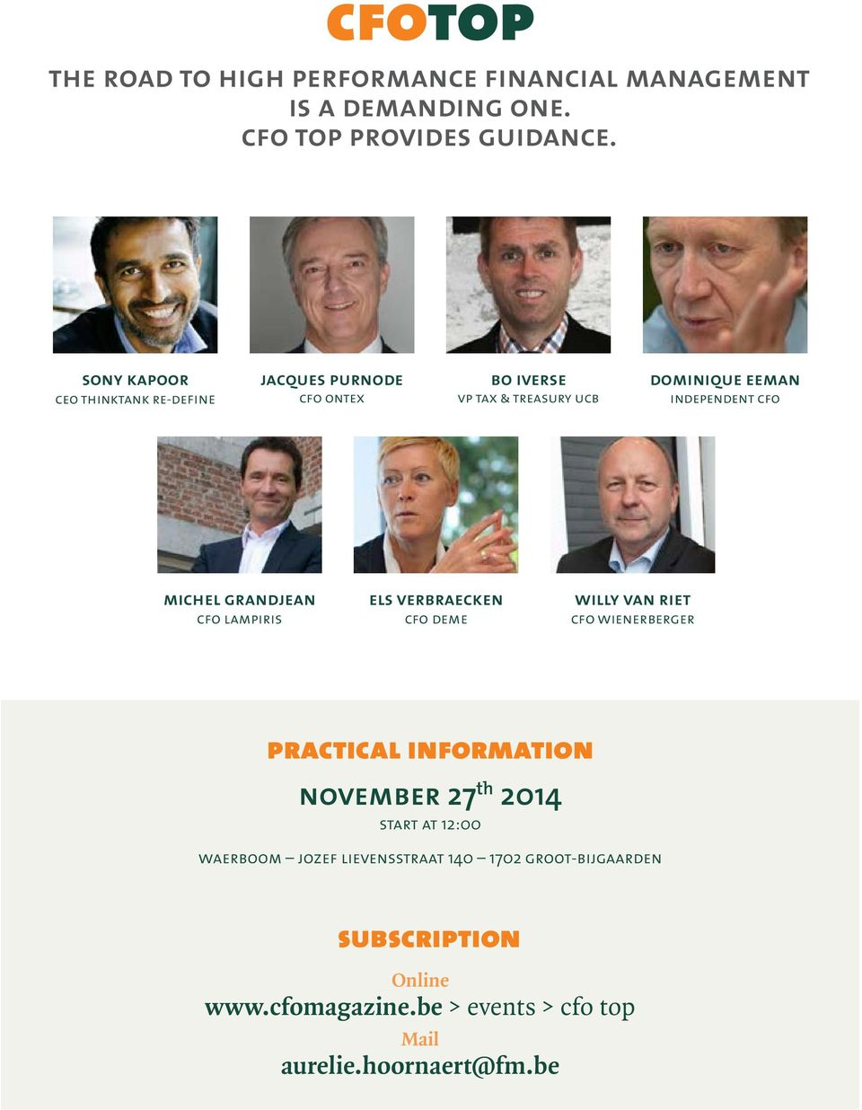 michel grandjean cfo lampiris els verbraecken cfo deme willy van riet cfo wienerberger practical information november 27 th 2014