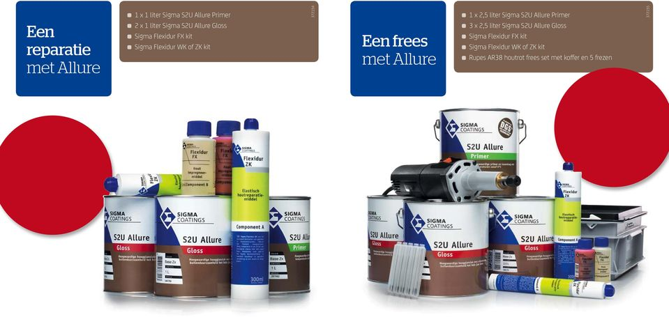 Flexidur WK of ZK kit Een frees 3 x 2,5 liter Sigma S2U Allure Gloss Sigma Flexidur