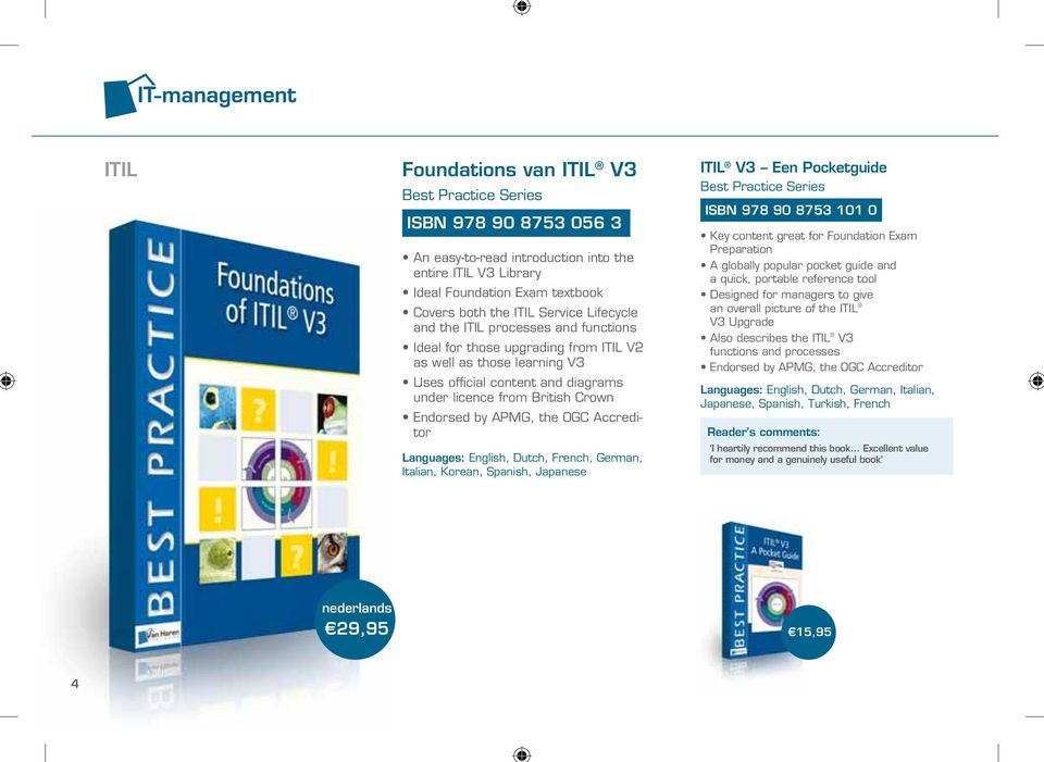 Dutch, French, German, Italian, Korean, Spanish, Japanese ITIL V3 Een Pocketguide ISBN 978 90 8753 101 0 Key content great for Foundation Exam Preparation A globally popular pocket guide and a quick,