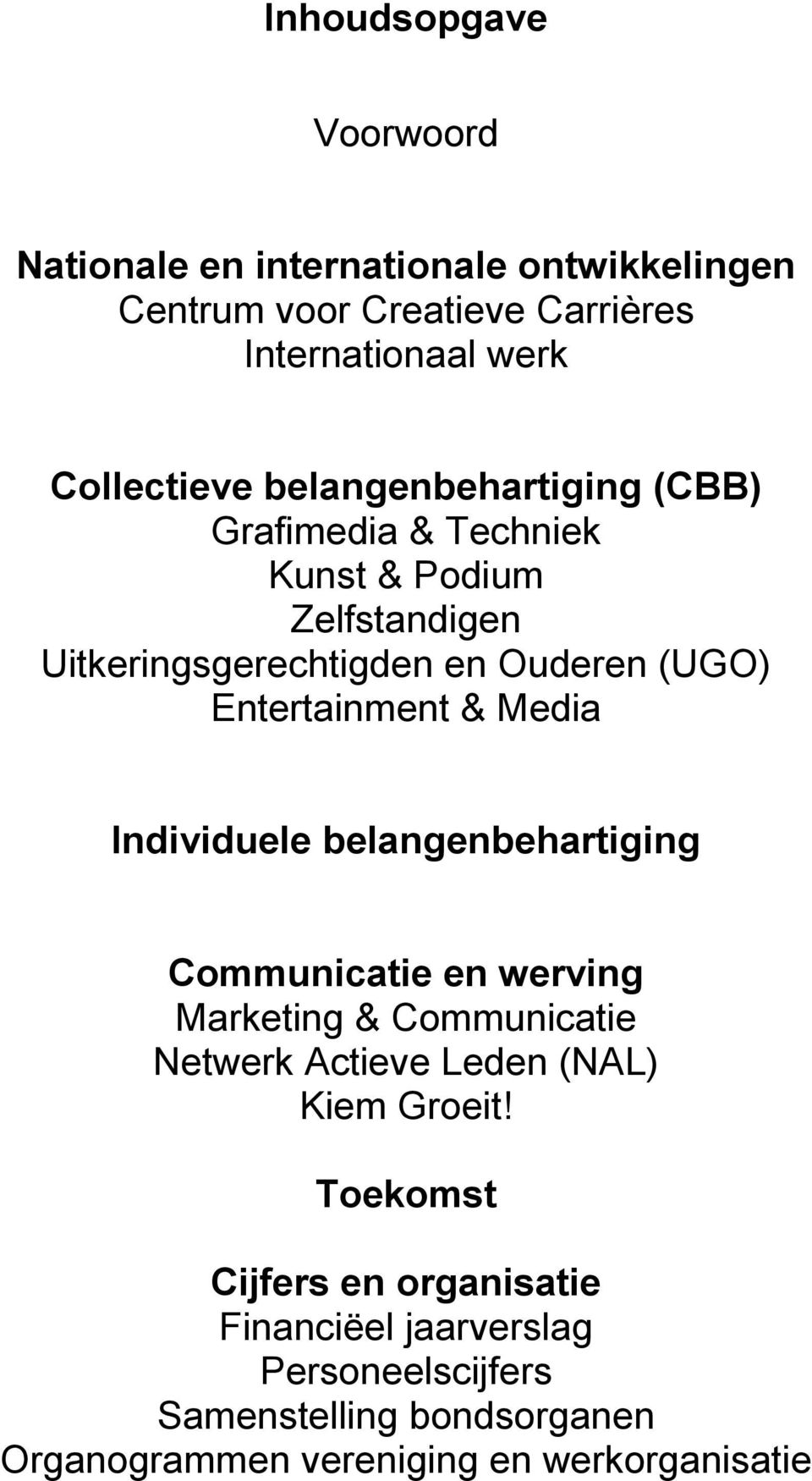Media Individuele belangenbehartiging Communicatie en werving Marketing & Communicatie Netwerk Actieve Leden (NAL) Kiem Groeit!