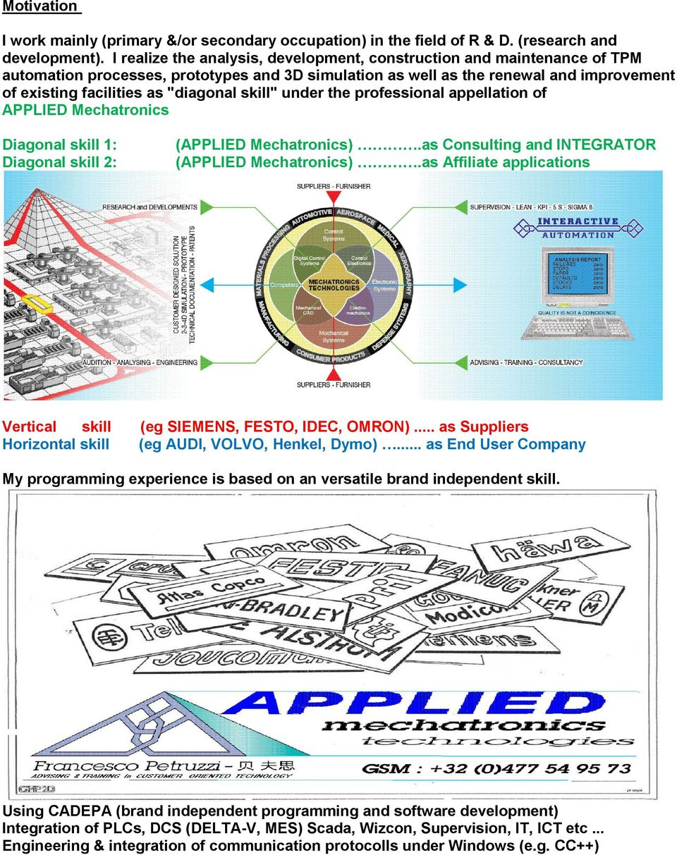 "skill"" under the professional appellation of APPLIED Mechatronics Diagonal skill 1: Diagonal skill 2: (APPLIED Mechatronics).as Consulting and INTEGRATOR (APPLIED Mechatronics)."