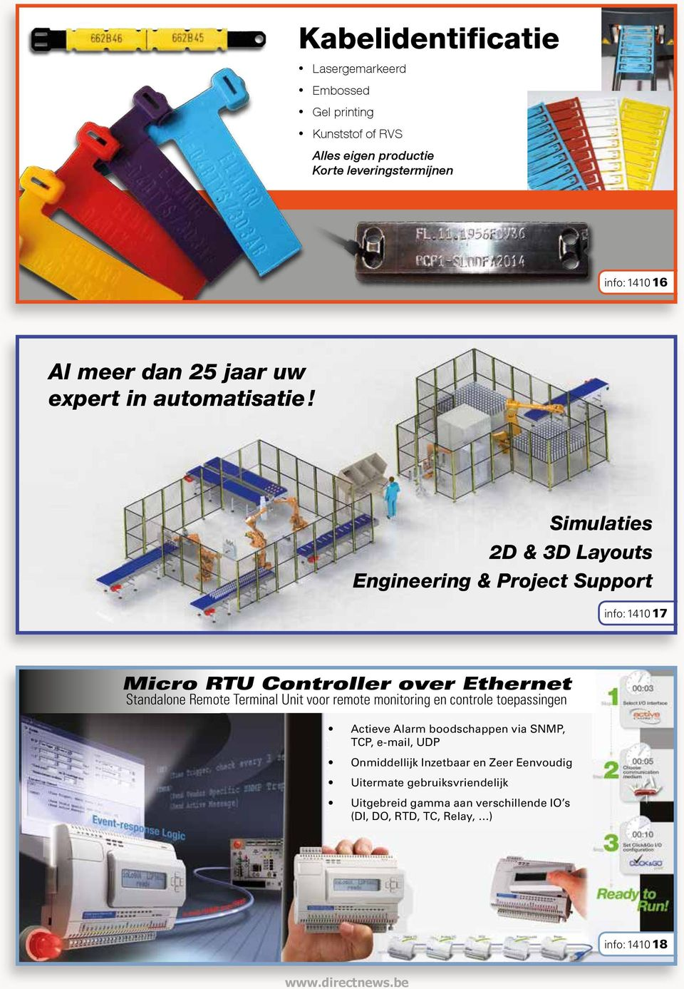 Simulaties 2D & 3D Layouts Engineering & Project Support info: 1410 17 Micro RTU Controller over Ethernet Standalone Remote Terminal Unit voor