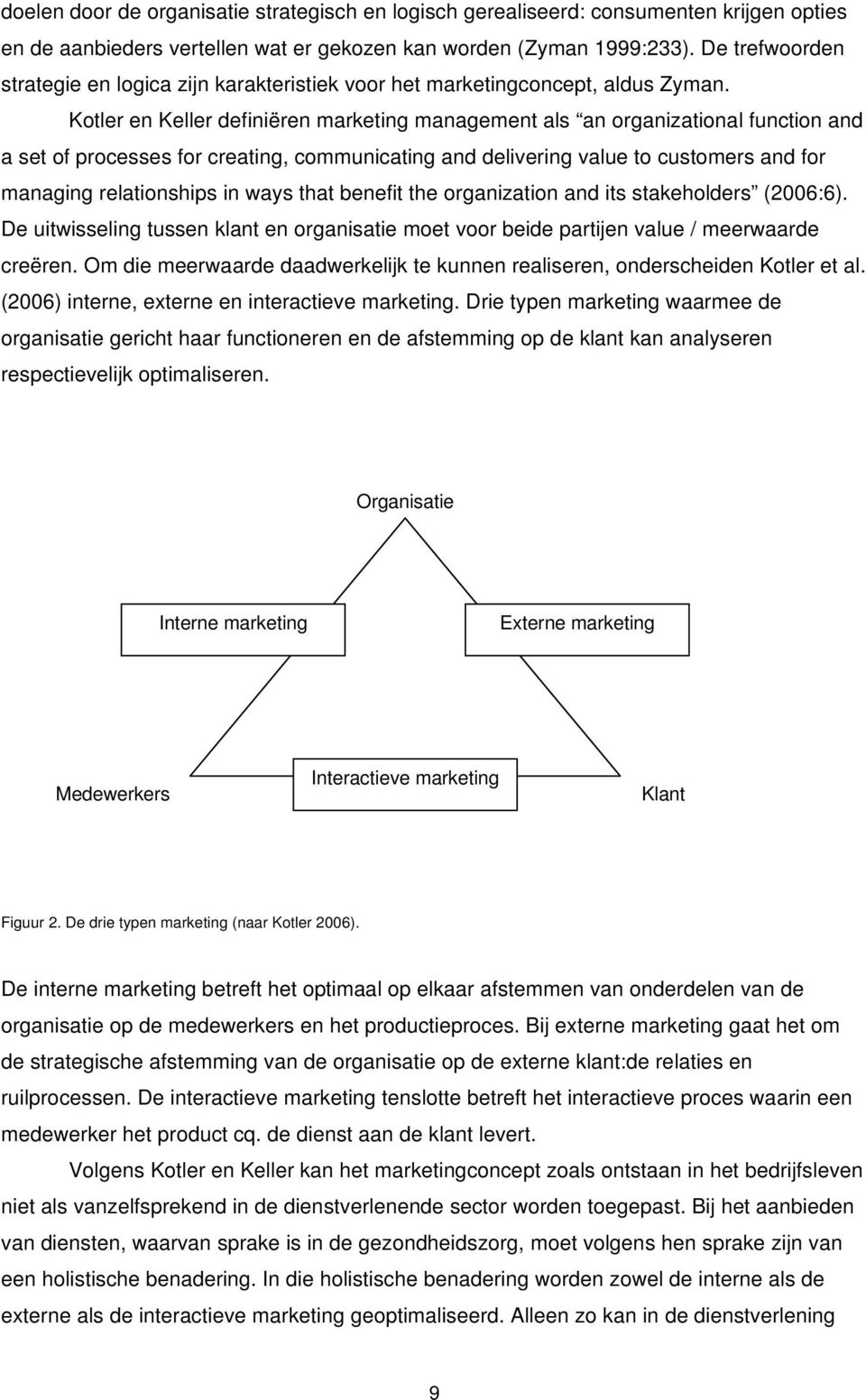 Kotler en Keller definiëren marketing management als an organizational function and a set of processes for creating, communicating and delivering value to customers and for managing relationships in