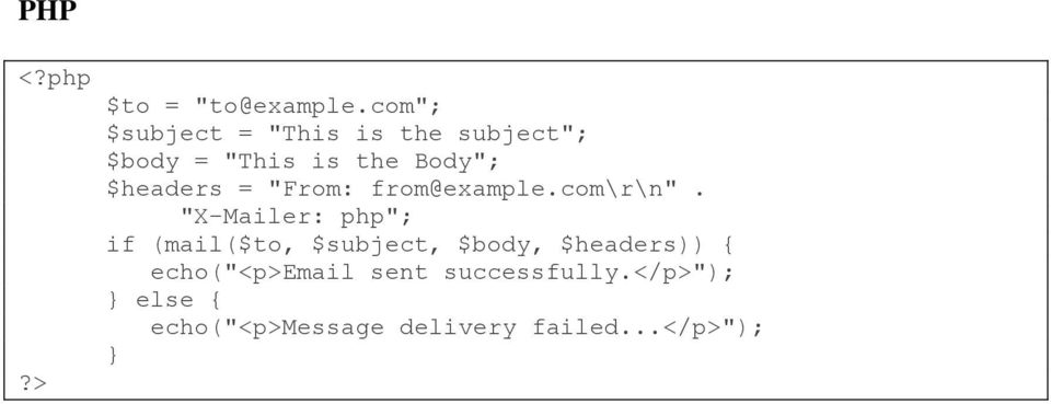 "$headers = ""From: from@example.com\r\n""."