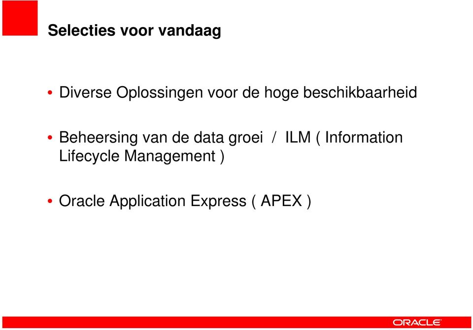 de data groei / ILM ( Information Lifecycle