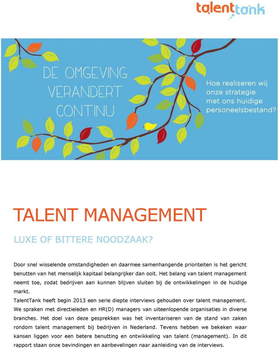 TalentTank heeft begin 2013 een serie diepte interviews gehouden over talent management. We spraken met directieleden en HR(D) managers van uiteenlopende organisaties in diverse branches.