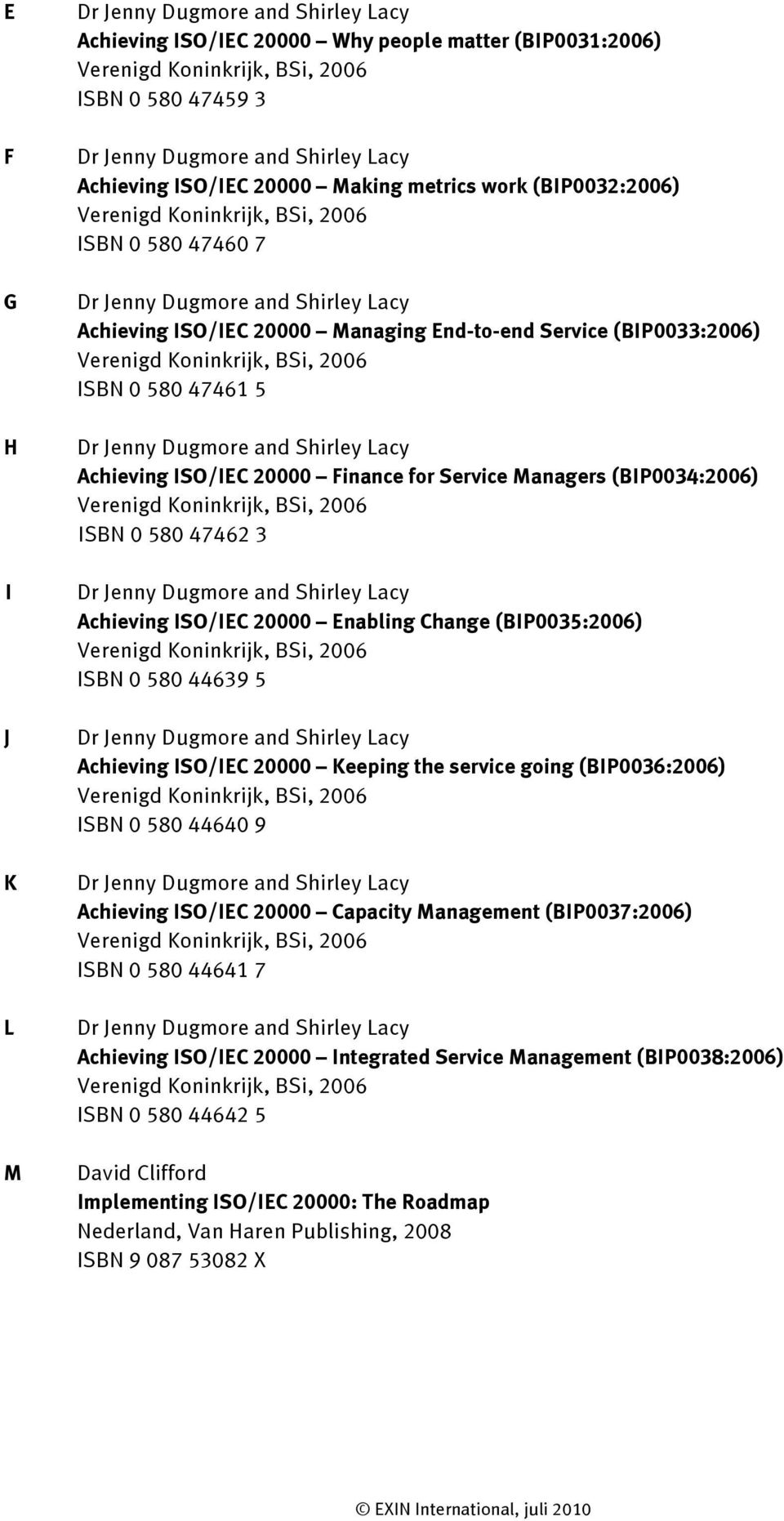 (BIP0035:2006) ISBN 0 580 44639 5 Achieving ISO/IEC 20000 Keeping the service going (BIP0036:2006) ISBN 0 580 44640 9 Achieving ISO/IEC 20000 Capacity Management (BIP0037:2006) ISBN 0 580 44641