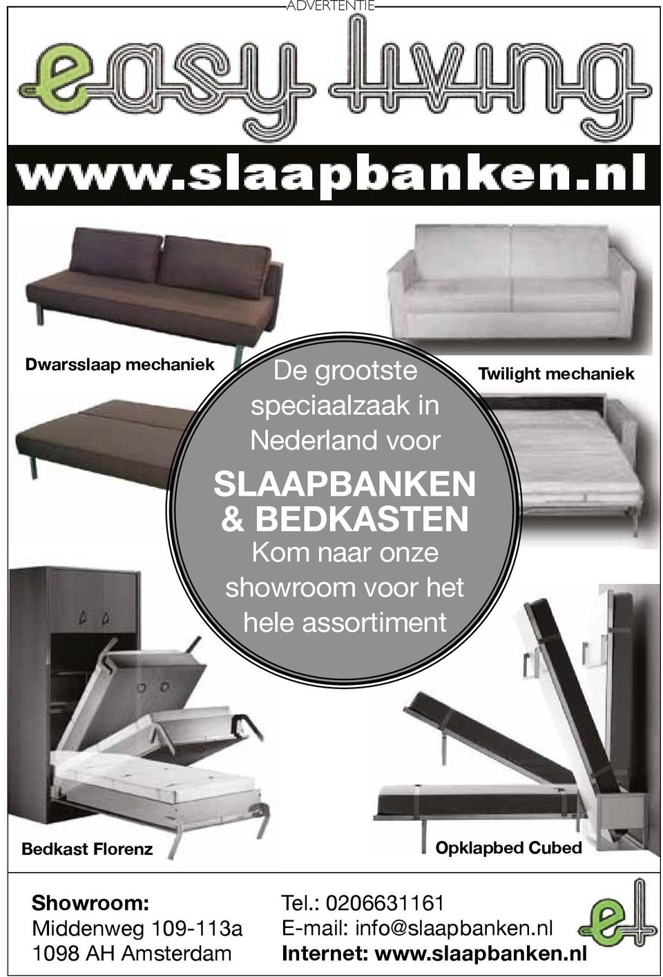 Twilight mechaniek Bedkast Florenz Opklapbed Cubed Showroom: Middenweg 109-113a