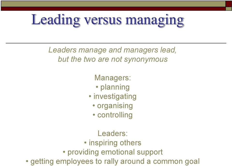organising controlling Leaders: inspiring others providing