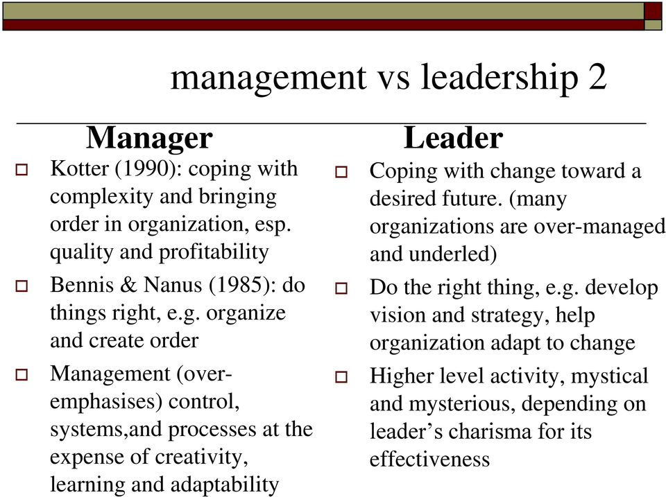 right, e.g. organize and create order Management (overemphasises) control, systems,and processes at the expense of creativity, learning and adaptability