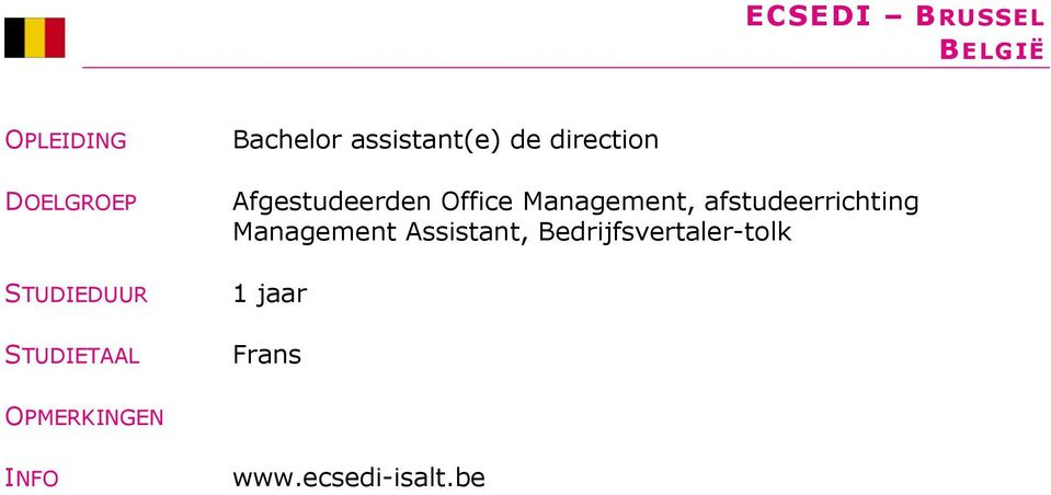 afstudeerrichting Management Assistant,