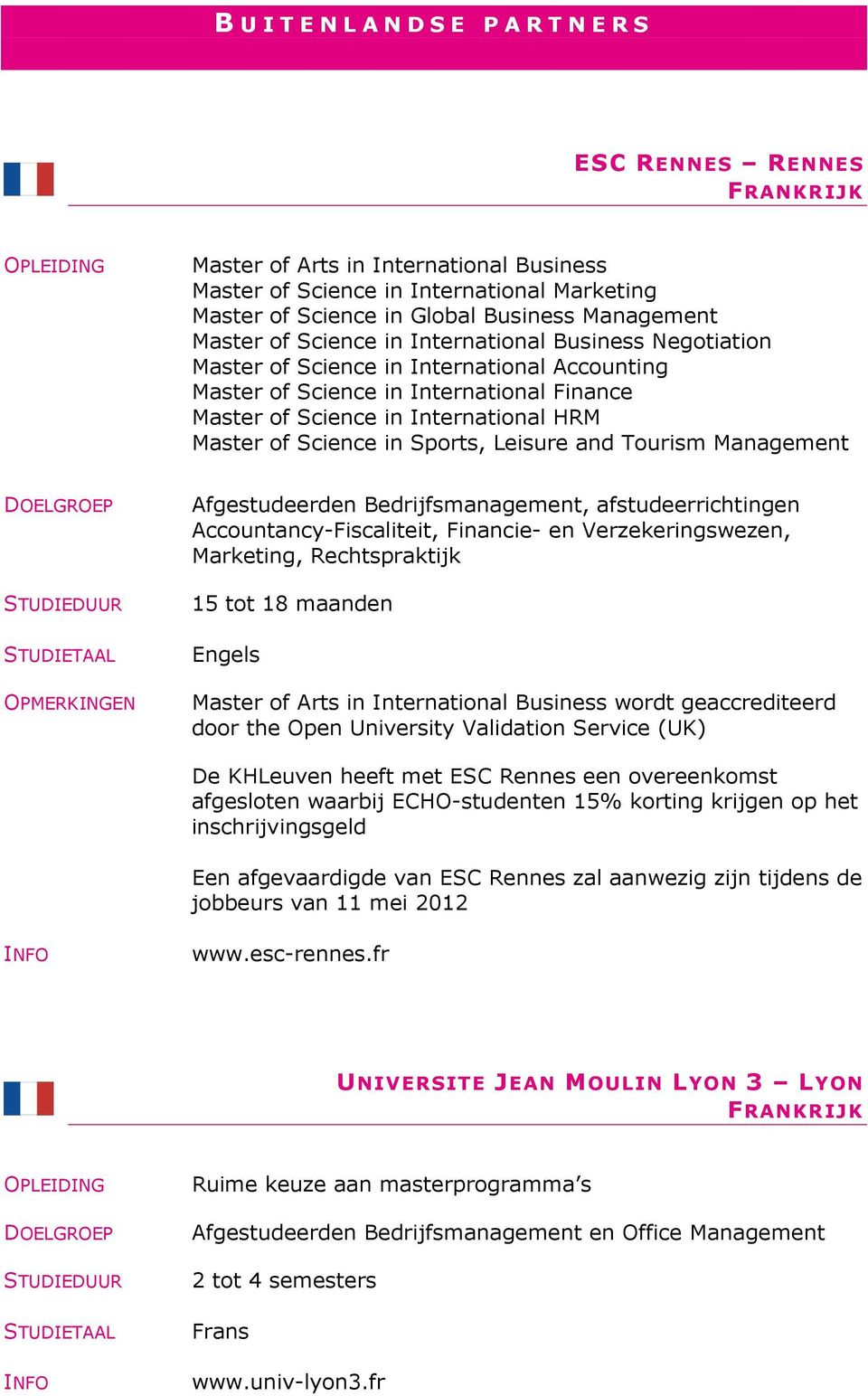 Master of Science in Sports, Leisure and Tourism Management OPMERKINGEN Afgestudeerden Bedrijfsmanagement, afstudeerrichtingen Accountancy-Fiscaliteit, Financie- en Verzekeringswezen, Marketing,