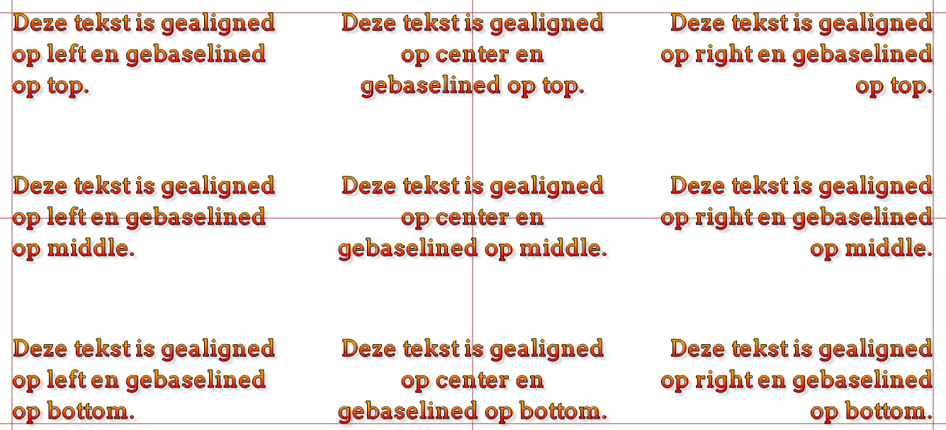 Alignment textalign De horizontale uitlijning van de tekst ( start, end, left, center, right ) textbaseline De verticale uitlijning van de tekst ( alphabetic,
