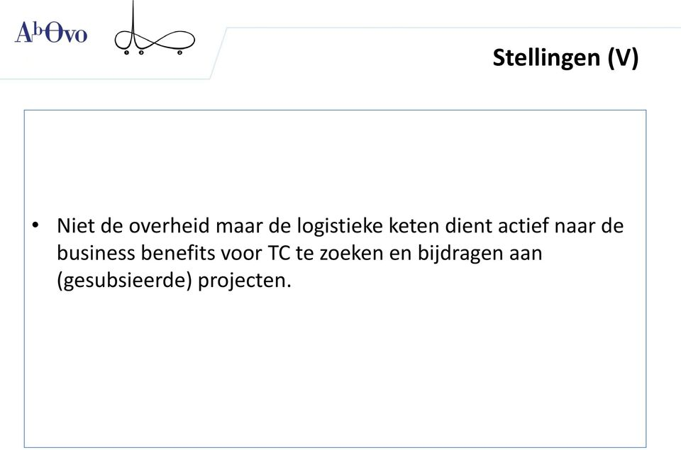 de business benefits voor TC te zoeken