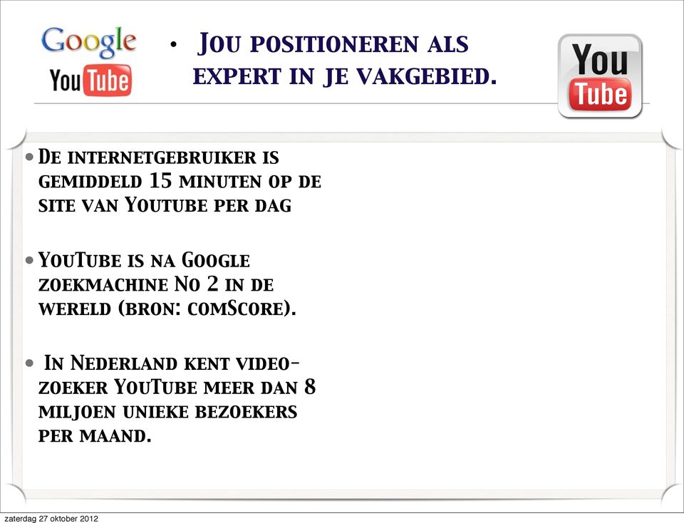 per dag YouTube is na Google zoekmachine No 2 in de wereld (bron: