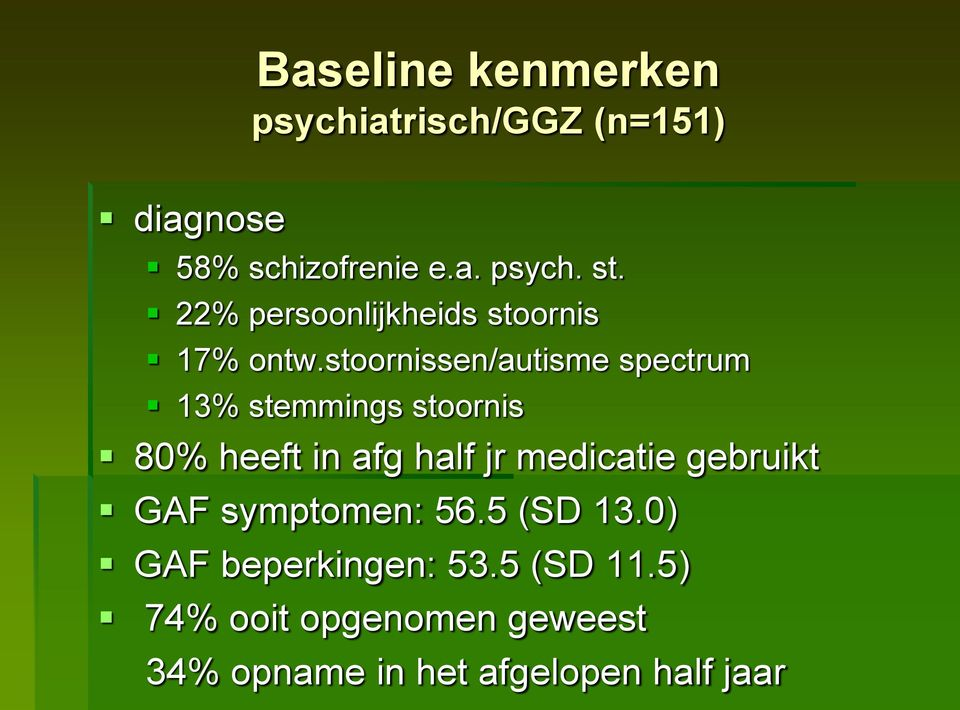 stoornissen/autisme spectrum 13% stemmings stoornis 80% heeft in afg half jr medicatie
