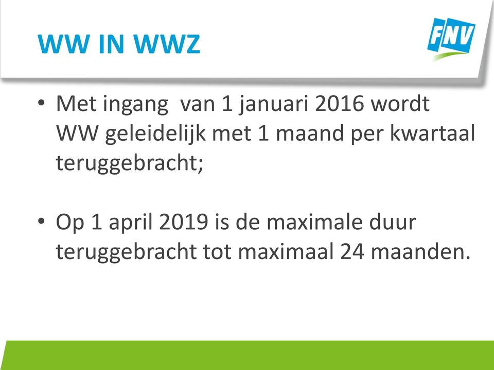 kwartaal teruggebracht; Op 1 april 2019 is