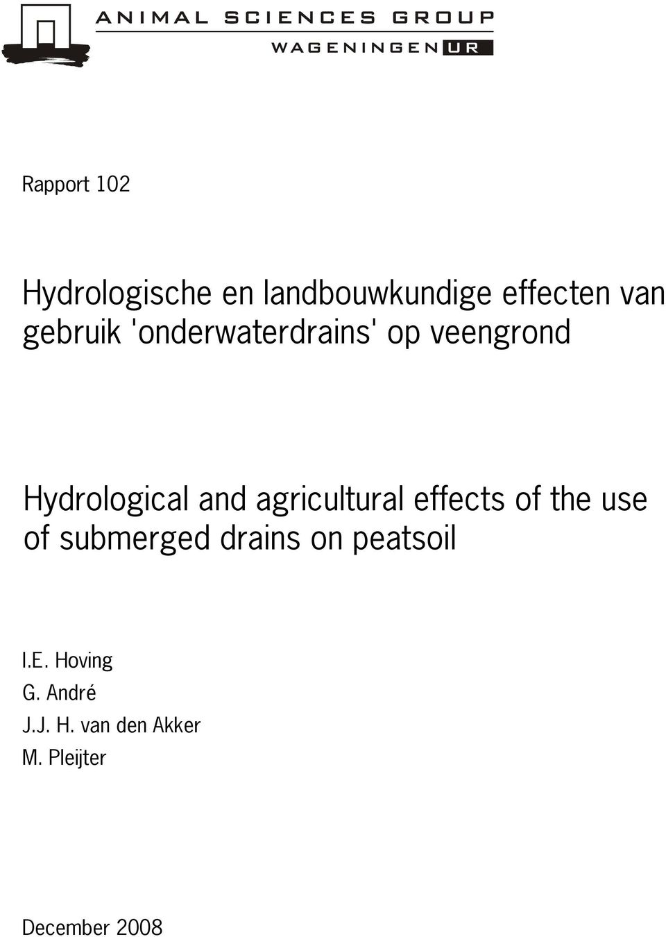 agricultural effects of the use of submerged drains on