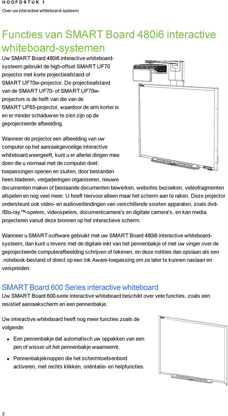 De projectieafstand van de SMART UF70- of SMART UF70wprojectors is de helft van die van de SMART UF65-projector, waardoor de arm korter is en er minder schaduwen te zien zijn op de geprojecteerde
